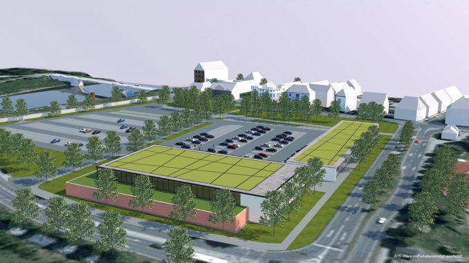 Die Visualisierung des REWE-Gebäudes