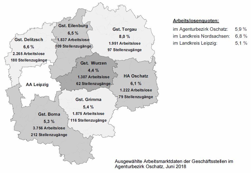 Arbeitslosenquoten der Gebiete in den Landkreisen Nordsachsen und Leipzig - Agentur für Arbeit Oschatz