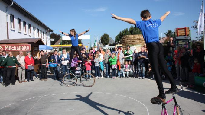 Die Sportler des Radsportvereins Nerchau e.V. zeigten bei den Sachsenobst-Festen ihre Geschicklichkeit auf dem Fahrrad.